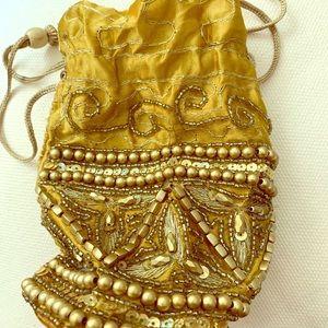 Handbags - NWT beaded gold sari Indian evening potli bag